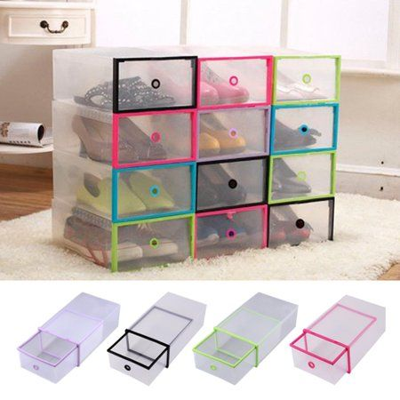 Rectangular Clear Plastic Shoe Box Transparent Drawer Case