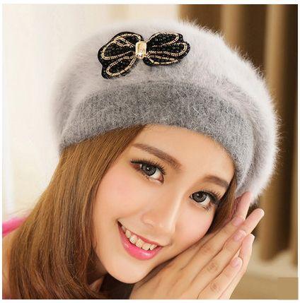 8a253dd76f442 bow beret hat for women rabbit fur warm winter hats