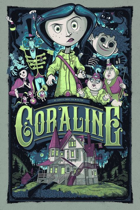 illustration tim burton movie posters 'Kubo And The Two Strings' And 'Coraline' Prints From Mondo Coraline Jones, Coraline Movie, Coraline Art, Art Tim Burton, Tim Burton Kunst, Tim Burton Films, Cartoon Wallpaper, Retro Wallpaper, Vintage Posters