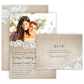 Burlap And Lace Frame Invitation With Free Response