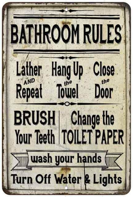 Bathroom Rules Lather Repeat Vintage Look Chic Distressed 8x12