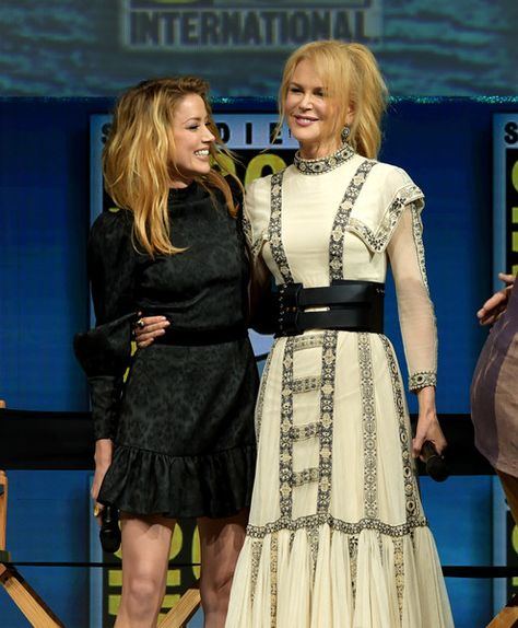 Amber Heard (L) and Nicole Kidman speak onstage at the Warner Bros. 'Aquaman' theatrical panel during Comic-Con International 2018 at San Diego Convention Center on July 21, 2018 in San Diego, California.