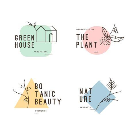 Natural business logo collection in mini. Logo Branding, Branding Design, Label Design, Design Packaging, Minimal Logo Design, Minimal Style, Logo Desing, Vector Logo Design, Inspiration Logo Design