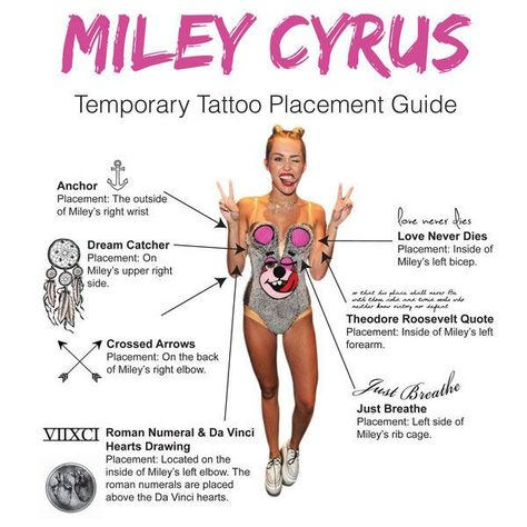 Show off your wild girl side with these Miley Cyrus Temporary Tattoos! This set comes with all 7 of the tattoos pictured as well as an application guide! Be the cool kid on the block this Halloween with these stylish temporary tattoos! The set includes: - Dreamcatcher - DaVinci Hearts - Roman Numerals - Anchor Outline - Roosevelt Quote - Love Never Dies - Crossed Arrows - Just Breathe - Lasts 5-7 days even with swimming and bathing! - Easy to put on and easy to remove! - Skin safe ingredients