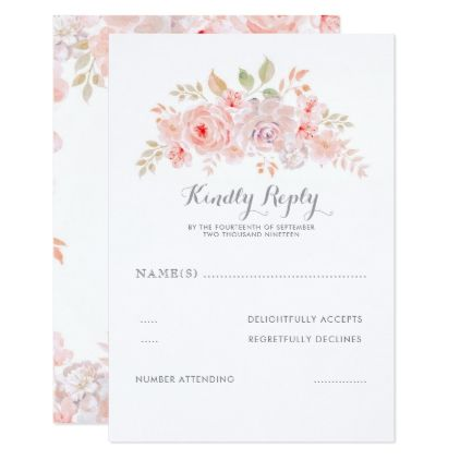 Soft Pink Flowers Elegant Modern Wedding Rsvp Zazzle Com Wedding Response Cards Elegant Modern Wedding Rsvp Wedding Cards