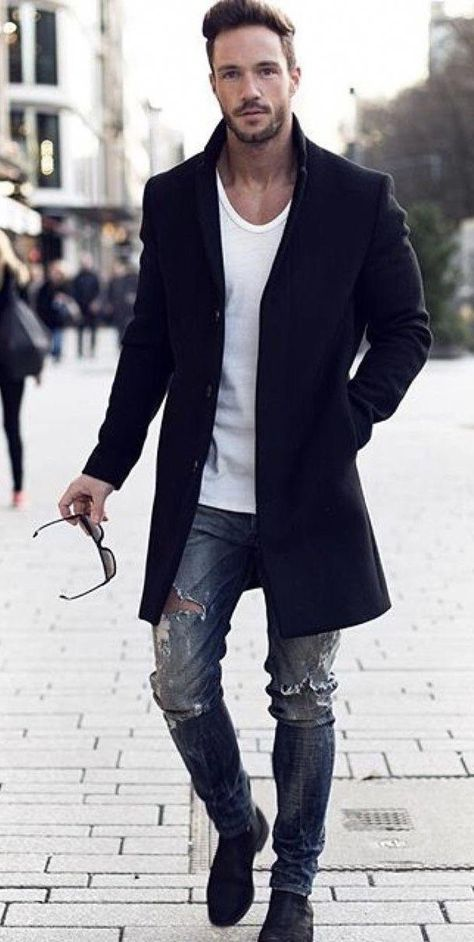 @magic_fox , with a fall outfit idea with a black topcoat white t,shirt