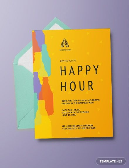 Happy Hour Invitation Sample : happy, invitation, sample, Happy, Invitation, Template, [Free, Apple, Pages, Illustrator, Publisher, Template,, Printable, Templates,, Holiday, Party, Invite, Wording