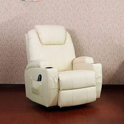 Unionline Pu Leather Massage Recliner Chair With Heated Option Control Ergonomic Executive Lounge Cream Check Out This Great Recliner Chair Recliner Chair