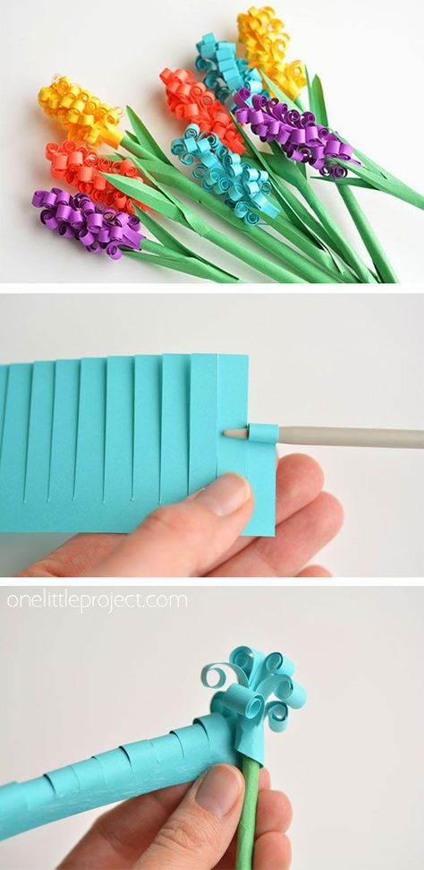 These paper hyacinth flowers are BEAUTIFUL!! And they're really easy to make! All you need is a strip of paper and you can make your own beautiful spring bouquet that will last forever. This is such a great spring craft idea that looks so pretty!