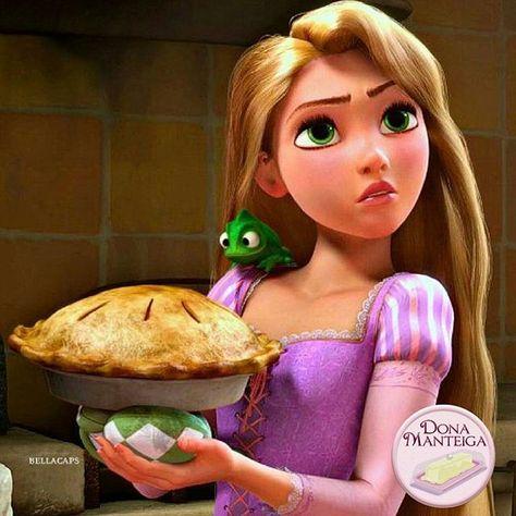 """Somos como a Rapunzel em """"Enrolados"""", amamos fazer Tortas. #tortas #tangled 🌱🐟🐄🍫🍰 @donamanteiga #donamanteiga #danusapenna #amanteigadas #gastronomia #food #bolos #tortas www.donamanteiga.com.br"""