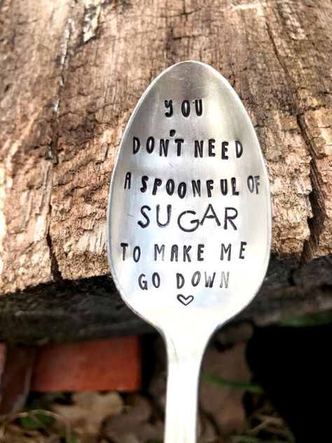 Silver Spoon Hand Stamped Spoon Funny Gifts Sugar Spoon