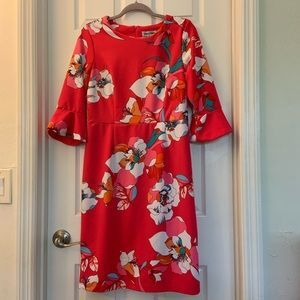 Shelby Palmer Red Bell Sleeve Dress Size 6 Red Bell Sleeve Dress Silk Scarf Outfit Dresses With Sleeves