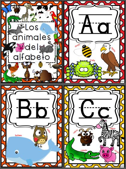 Spanish Alphabet Animals Posters Spanish alphabet, Flip books - spanish alphabet chart