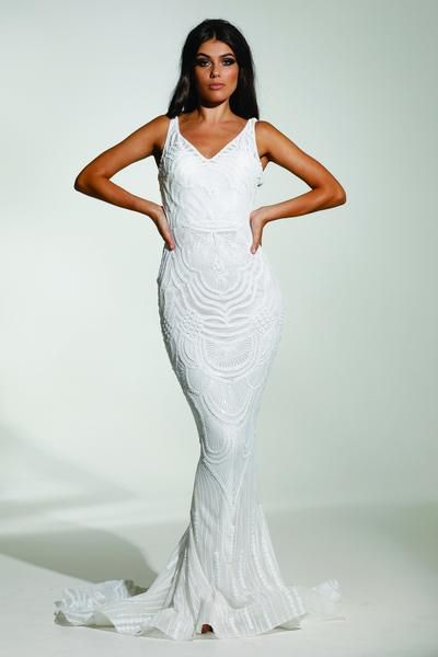 67f33dd447 Tinaholy Couture Picasso P1732 Off White Sequin Mermaid Formal Gown ...
