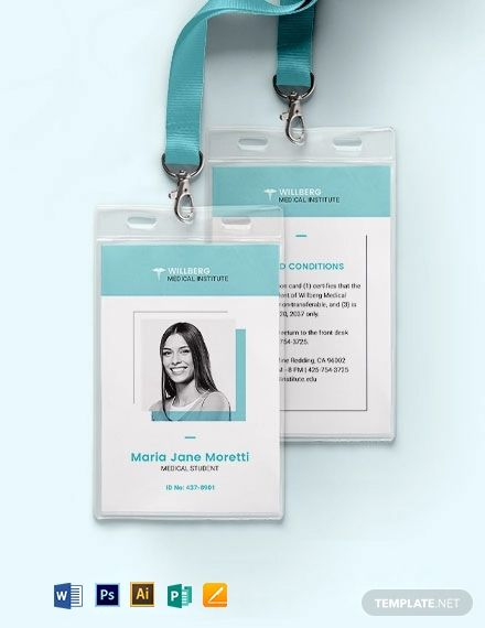 Medical Student Id Card Template Word Doc Psd Apple Mac Pages Illustrator Publisher Medical Business Card Design Id Card Template Medical Business Card