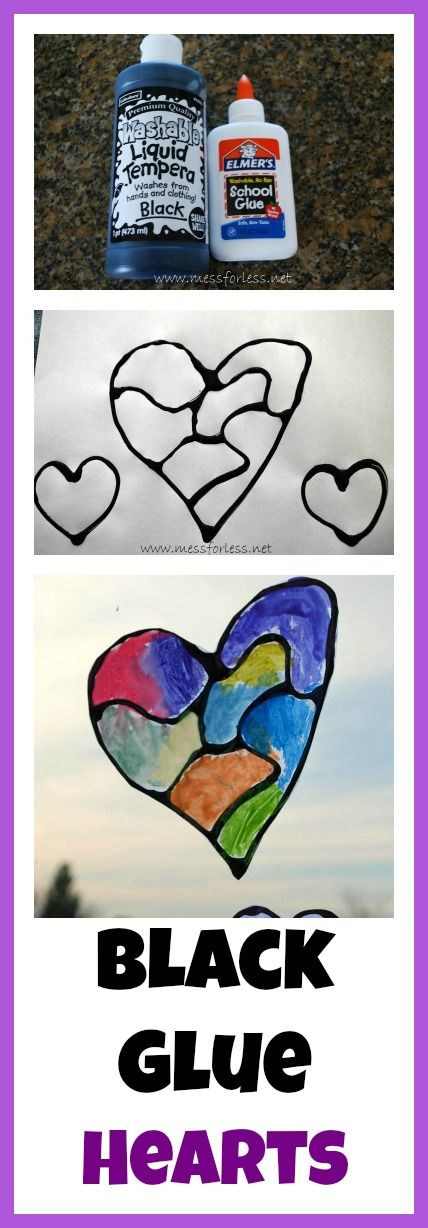 Hearts with Black Glue - looks like stained glass! So easy to do and great kid activity!