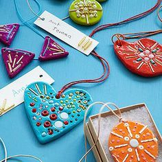 Beaded Clay Necklaces: Surprise someone with a boho-inspired mosaic necklace your child can proudly say she made herself.