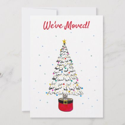 We Ve Moved Modern Christmas Tree Watercolor Holiday Card Zazzle