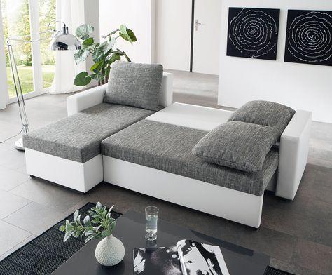 Schau Mal Was Ich Bei Roller Gefunden Habe Ecksofa Weiss Grau Liegefunktion Home Home Decor Furniture