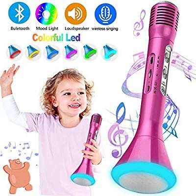 Kids Karaoke Machine Wireless Singing Microphone with Bluetooth Handheld Portable Music Playing Toys Flash Colorful LED Lights for Boys Girls St Patricks Day Home Party Birthday Gifts Andriod iOS PC