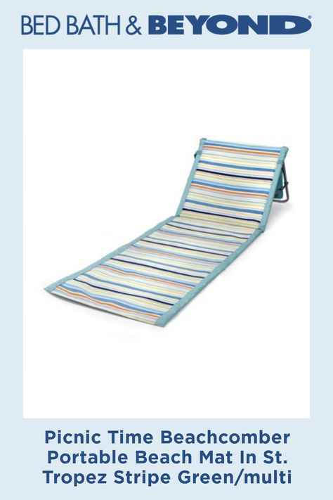 Picnic Time Beachcomber Portable Beach Mat In St Tropez Stripe