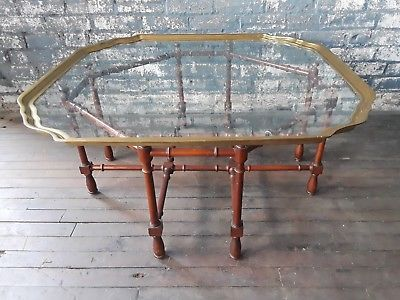 Vintage Faux Bamboo Coffee Cocktail Table With Brass Glass Top