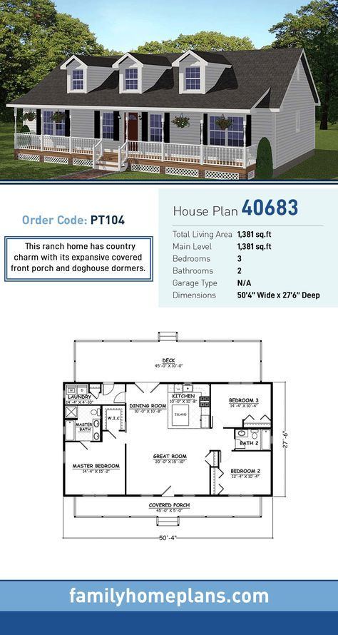 Southern Style House Plan 40683 With 3 Bed 2 Bath Family House Plans House Plans Farmhouse Country House Plan