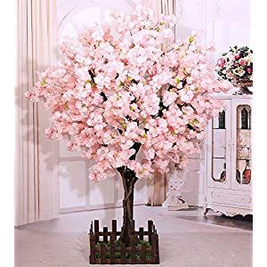 J Beauty Cherry Blossom Tree Thick Cherry Flower Artificial Plant For Indoor Outdoor School Party Restaurant Mall Silk Flower 7ft T In 2020 With Images Artificial Cherry Blossom Tree Blossom Trees Cherry