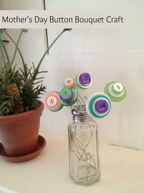 Mothers Day on a Dime DIY: Make Your Own Beautiful Button Bouquet! - My Kids Guide