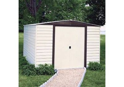 Arrow Vinyl Dallas 10x12 Vinyl Coated Steel Coffee Almond Low Gable 71 3 Wall Height Sliding Doors Building A Shed Diy Shed Plans Shed Storage