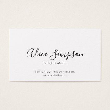 Minimalist Professional Handwritten Font White Business Card Zazzle Com Business Card Minimalist Hairstylist Business Cards Business Cards Elegant