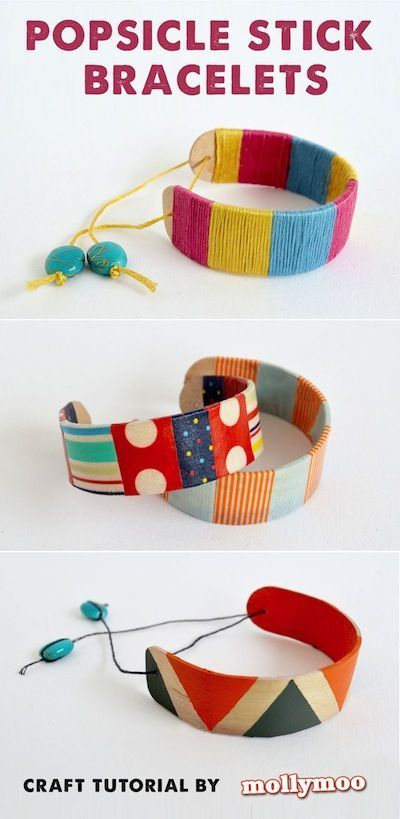 popsicle stick bracelets decorated with washi tape and thread - fun and easy craft for kids