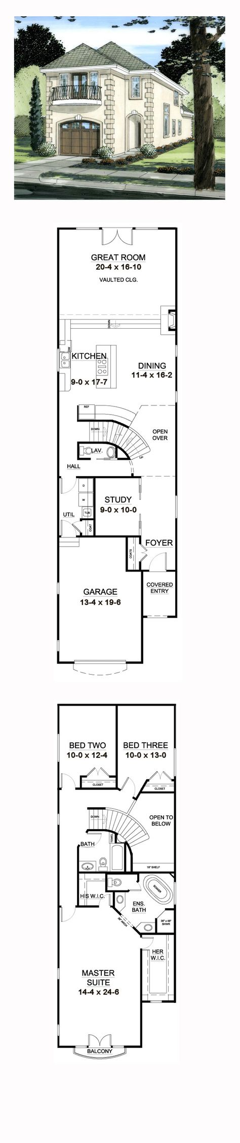 Narrow Lot House Plan 9997   Total Living Area: 2321 sq. ft., 3 bedrooms and 2.5 bathrooms. #narrowlot