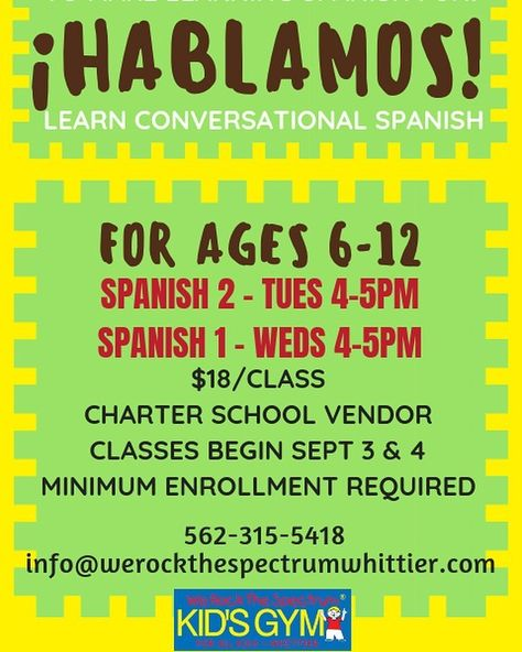 TIME CHANGES FOR SPANISH THIS FALL!  Also please share and scroll thru our posts to see our other awesome classes. #spanish #legolearning #art #history #science #kinderskillz