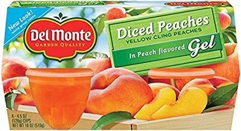 Del Monte Diced Peaches in Peach flavored Gel Plastic Fruit Cups, 4.4-Ounce (Pack of 24) - Default