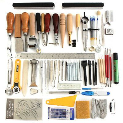 Leather Craft Tools Kit Hand Sewing Stitching Carving Saddle Groover Cutting Set