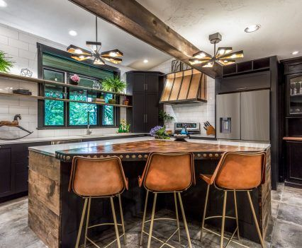 Concrete Natural Wood And Copper Accents Modern Kitchen Renovation Kitchen Renovation Home Decor