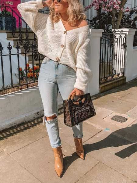 Chunky Oversized Big V Neck Button Up College Sweater For Women Get up to off now white off the shoulder button up sweaters knitted sweater with buttons down the front longsleeve button up cardigan v neck buttons sweater and jeans outfit idea