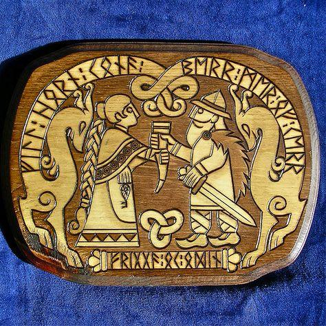 Odin and Frigga plaque