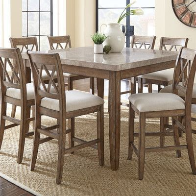 White Cane Outdoor Furniture, Three Posts Clearmont 9 Piece Solid Wood Dining Set Wayfair Counter Height Dining Sets Counter Height Table Pub Table Sets