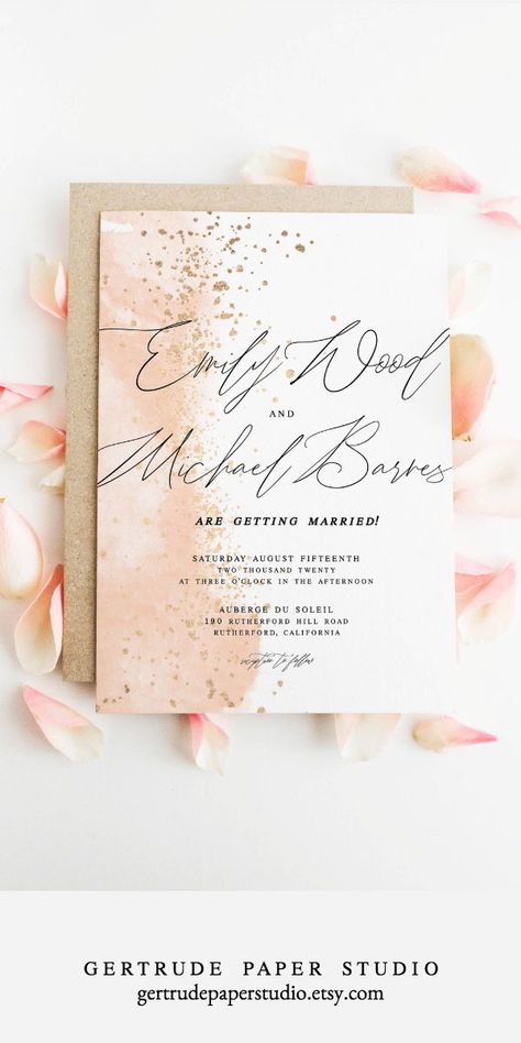 Pink Watercolor Wedding Invitation Shabby Chic Instant Diy Template