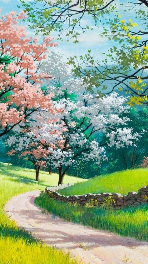 blooming trees, along a pathway, spring background images, phone wallpaper, green grass fields