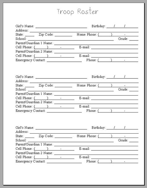 Girl Scout Troop Roster PDF By HeartroseDesigns On Etsy Brownies   Phone  Roster Template  Phone Roster Template