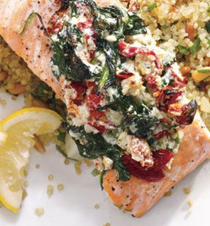 Salmon with feta, roasted red peppers and spinach plus a link to quinoa pilaf with pine nuts