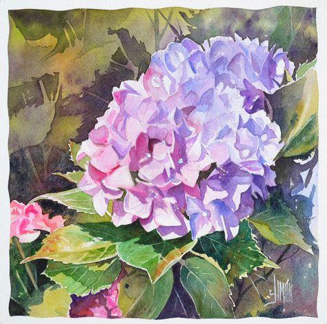 L Hortensia Joel Simon Avec Images Art Floral Peinture