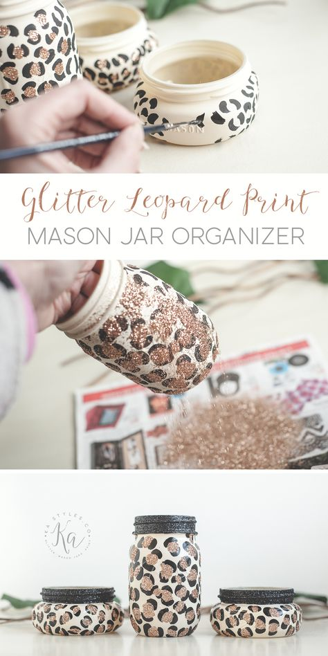 Glitter Leopard Print Mason Jars, DIY and Crafts, DIY Leopard print glitter mason jar organizer. Perfect for teens and animal print lovers. Glitter Mason Jars, Mason Jar Flowers, Mason Jar Gifts, Diy Flowers, Mason Jar Tumbler, Chalk Paint Mason Jars, Painted Mason Jars, Glitter Crafts, Glitter Party