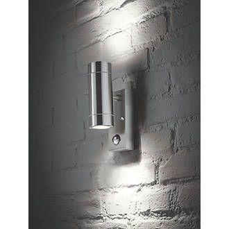 new styles 38940 f13c3 LAP Bronx Stainless Steel GU10 PIR Up & Down Wall Light ...