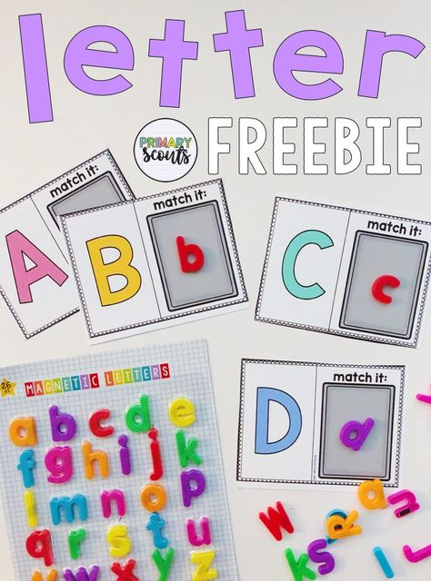 Magnetic Letters and a FREE resource for your little learners to have some fun while identifying letters and matching upper to lowercase styles! To grab this freebie and learn about other engaging magnetic letter tools - head over to my website. Preschool Learning Activities, Preschool Curriculum, Kindergarten Literacy, Alphabet Activities, Preschool Classroom, Letter Identification Activities, Preschool Letter B, Letter Recognition Games, Preschool Centers
