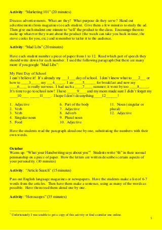 English club activities