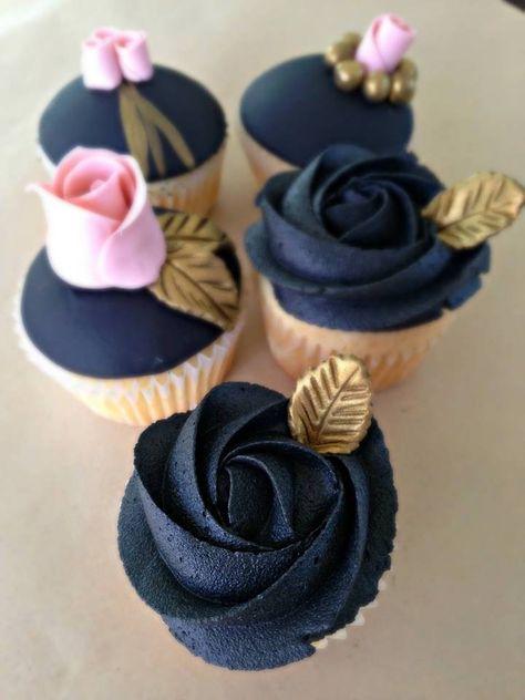 Cupcakes Decorados Sencillos 27 Ideas For 2019 Cupcakes Design, Gold Cupcakes, Rosette Cupcakes, Flower Cupcakes, Wedding Cupcakes, Cupcake Cookies, Cake Designs, Buttercream Cupcakes, 21 Birthday Cupcakes